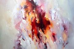 Paarden juni 100 x 100 cm.
